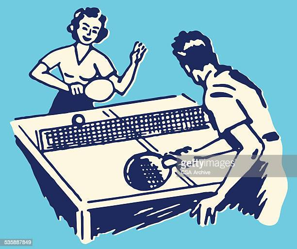 ilustraciones, imágenes clip art, dibujos animados e iconos de stock de hombre y mujer jugando al tenis de mesa - tenis de mesa