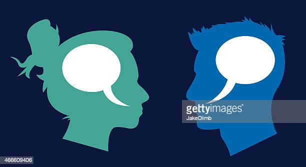 Man and Woman Profile Speech Bubbles