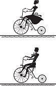 Man and woman riding on a retro bikes.