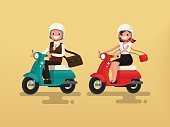 Man and woman riding on their motorbikes. Vector illustration