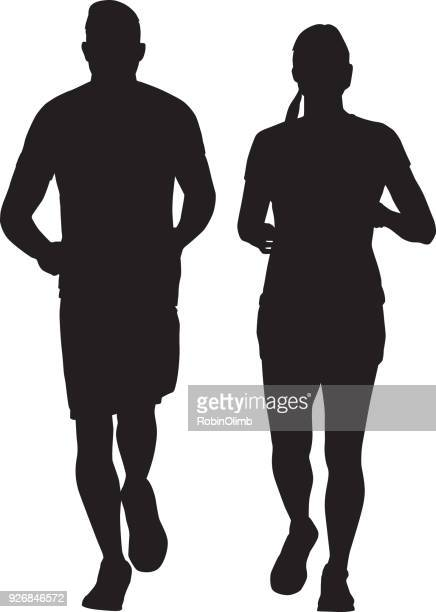 man and woman running together silhouette - athlete stock illustrations