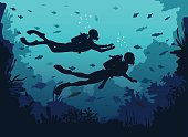 Man and woman scuba divers silhouette swimming in deep sea. Underwater Background with coral reefs and fishes