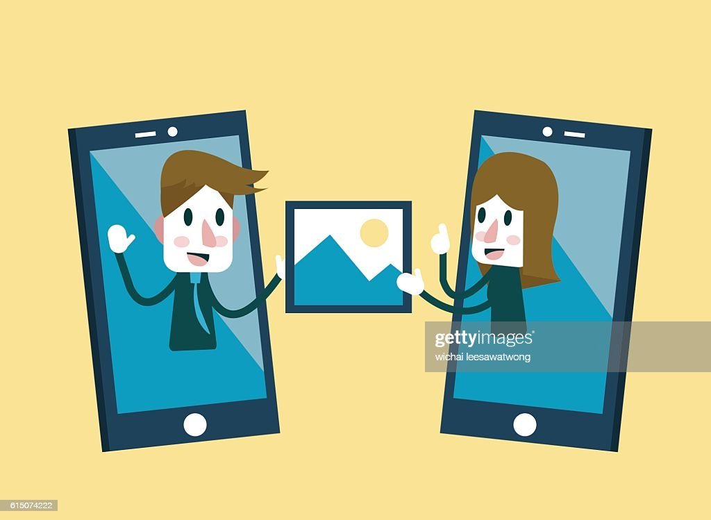 Man and woman sending and share picture on smartphone.