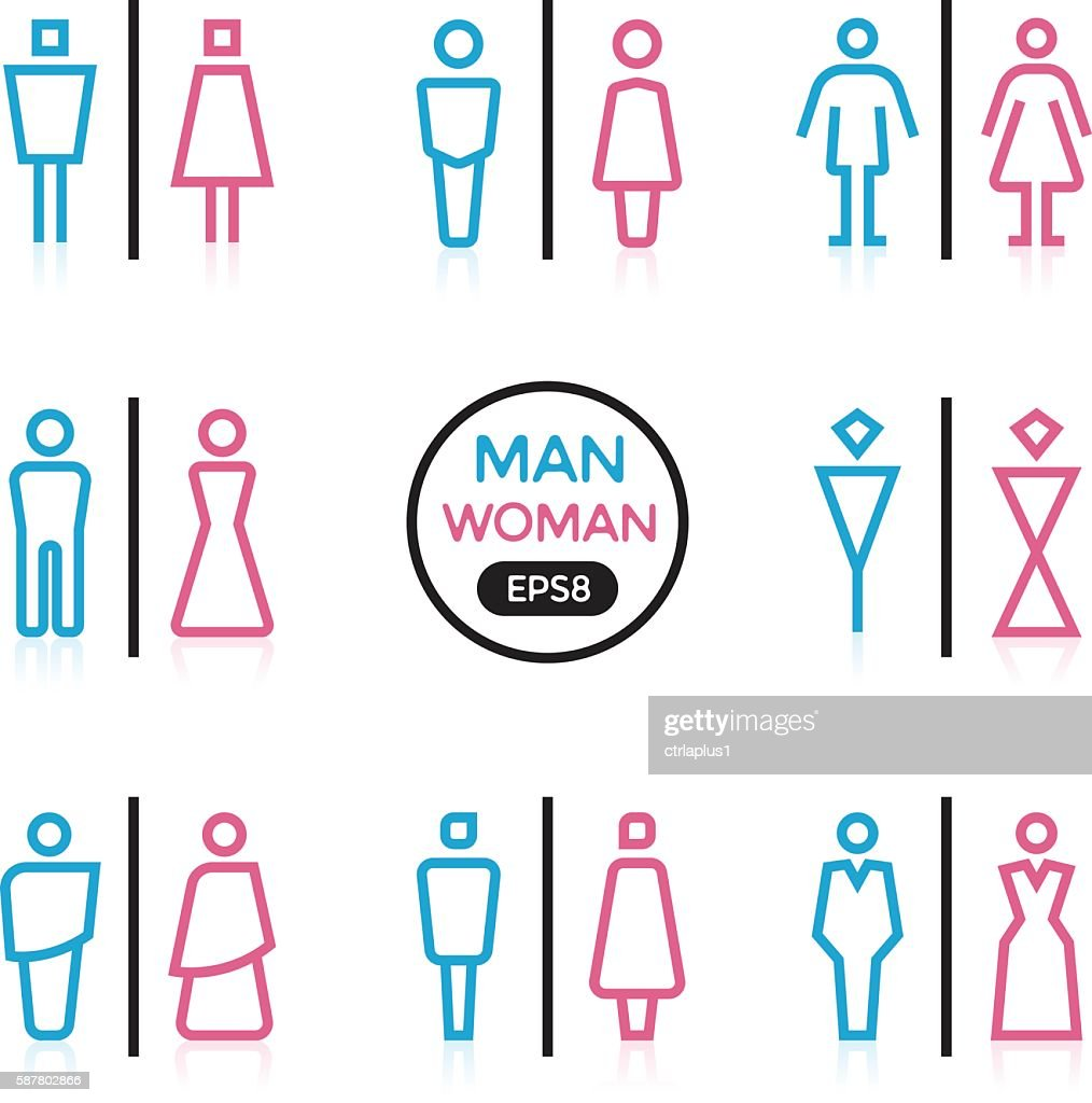 Man and Woman sign outline stroke