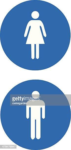 ilustrações, clipart, desenhos animados e ícones de homem e mulher placas. (vector - bathroom