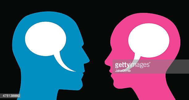 Man and Woman Speech Bubbles