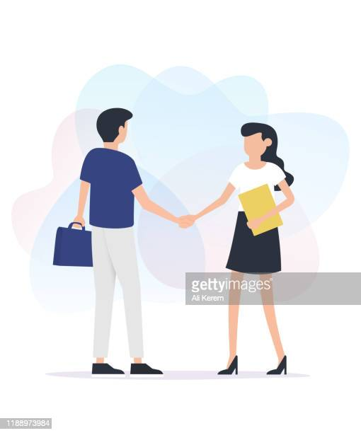 man and woman standing together and shaking hands - two people stock illustrations