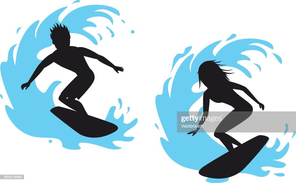 Man and woman surfer silhouettes riding on a wave