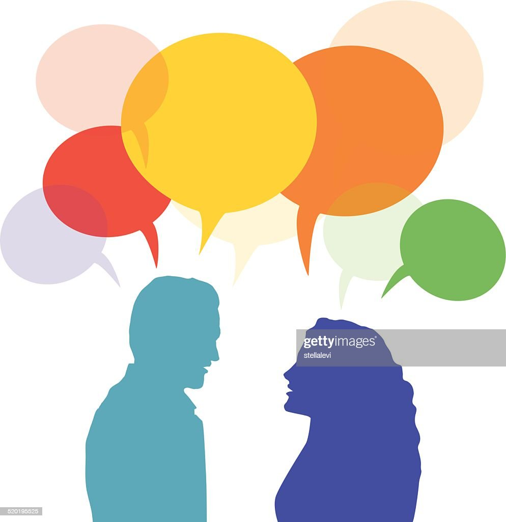 Man and woman talking and speech bubble