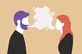 Man and woman talking with speech bubble in the middle - couple communication vector illustration
