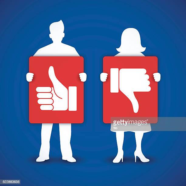 man and woman thumbs up and thumbs down signs - protestor stock illustrations