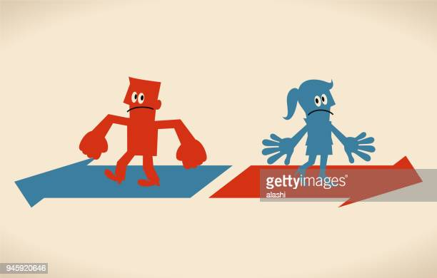 man and woman walking different way, opposite directional sign - battle of the sexes concept stock illustrations