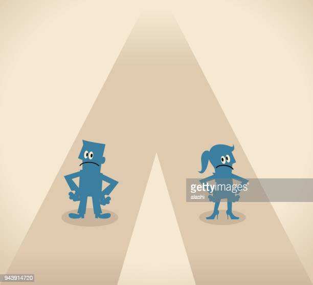man and woman walking different way - battle of the sexes concept stock illustrations
