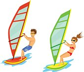 Man and woman windsurfing isolated