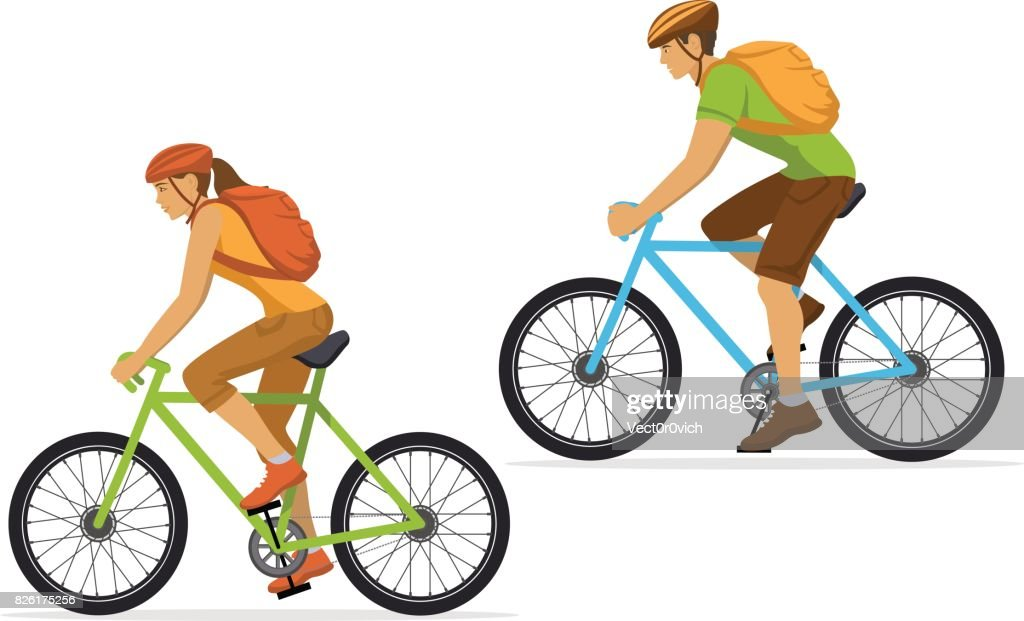 Man and Woman with backpacks traveling on mountain bikes.
