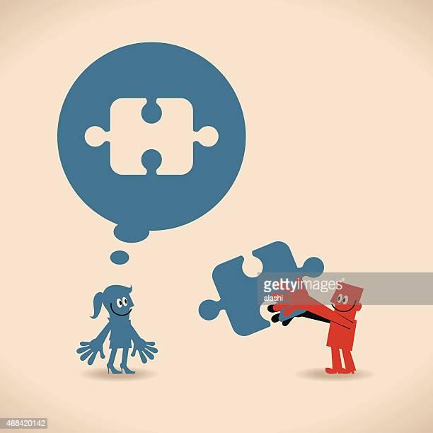 Mann und Frau mit leere puzzle Rede Blasen, Lösungen