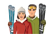 man and woman with skis in the mountains