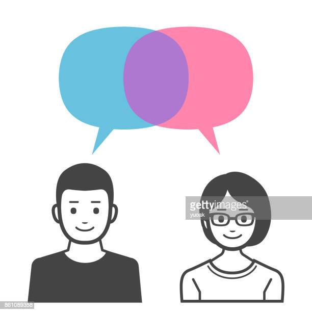 Mann und Frau mit Sprechblasen