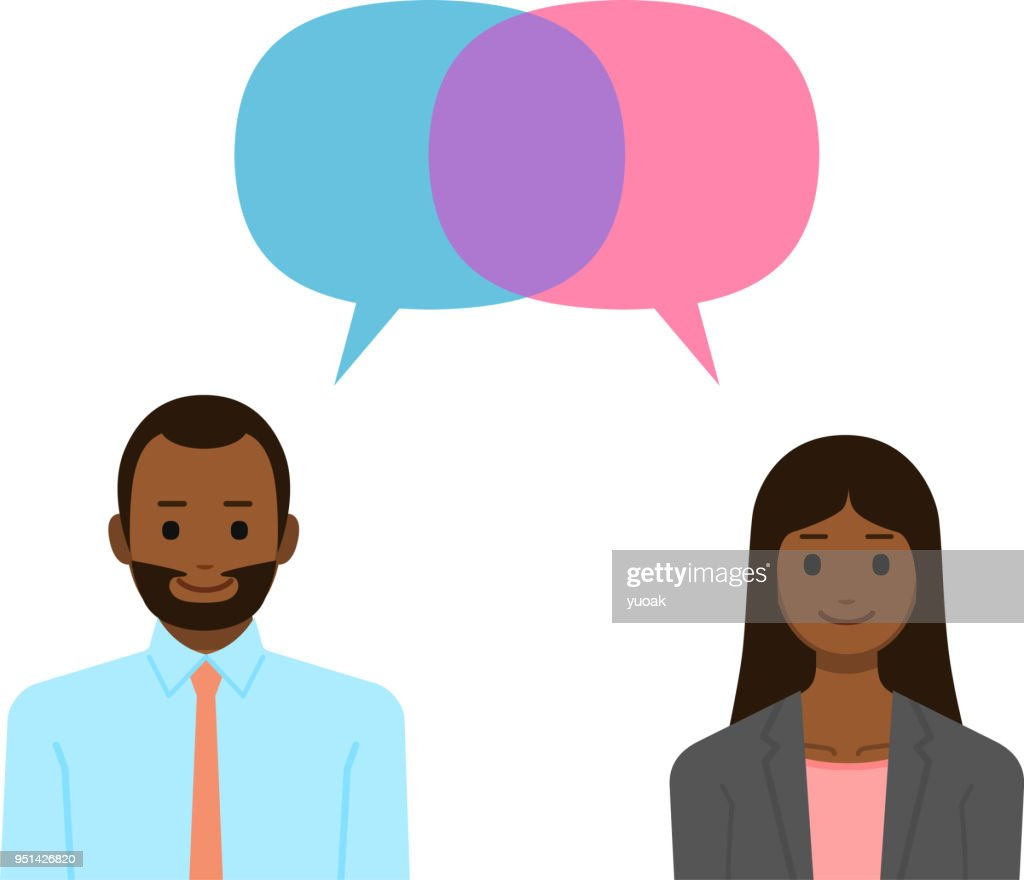 Man and woman with speech bubbles : stock vector