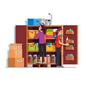 Man and woman working at home pantry or cellar