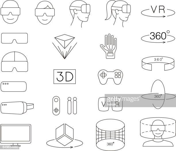 illustrazioni stock, clip art, cartoni animati e icone di tendenza di man and women wearing virtual reality glasses. playing games - realtà virtuale