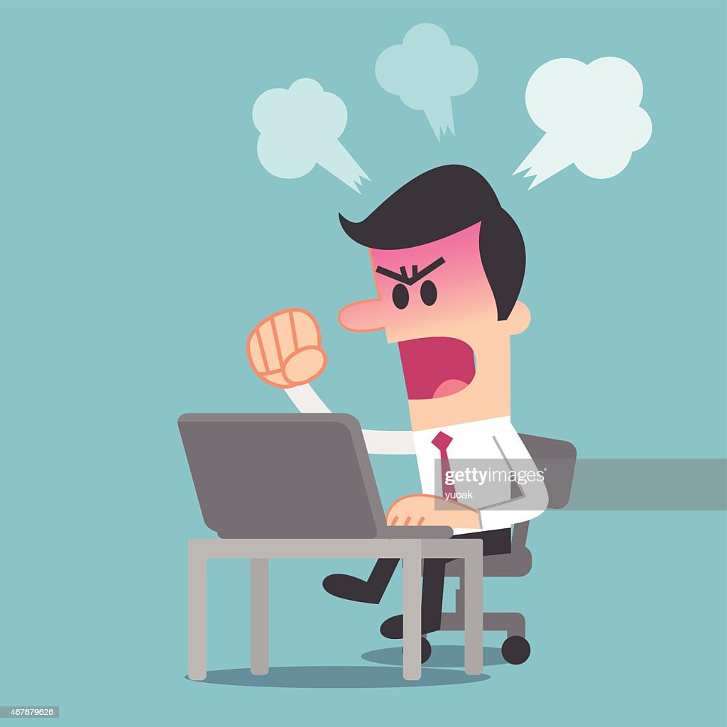 Man angry at computer : stock illustration