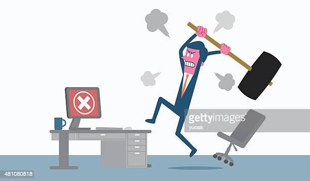 Mann am computer wütend