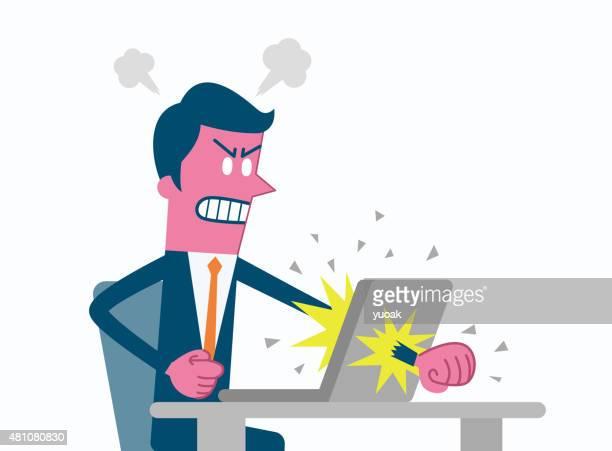man angry at computer - destruction stock illustrations