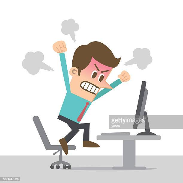 man angry at computer - agression stock illustrations, clip art, cartoons, & icons