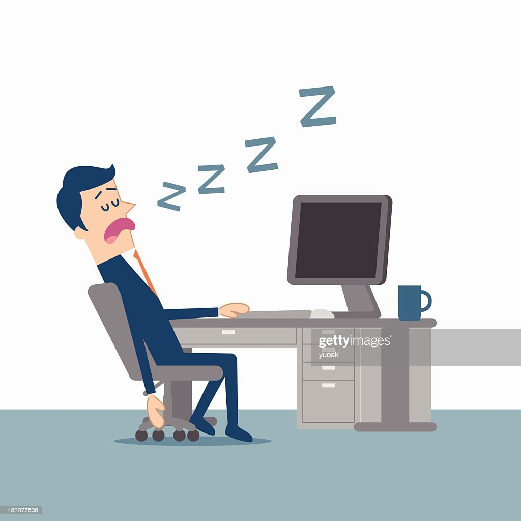 Man asleep in front of the computer : stock illustration