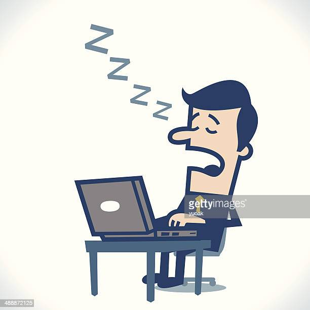 man asleep in front of the computer - webcam media apparaat stock illustrations