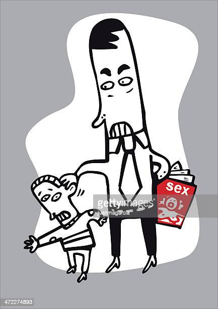 man assaulting a minor - sexual fetish stock illustrations, clip art, cartoons, & icons