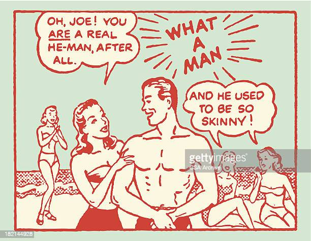 man at beach getting discovered by girls - flirting stock illustrations, clip art, cartoons, & icons