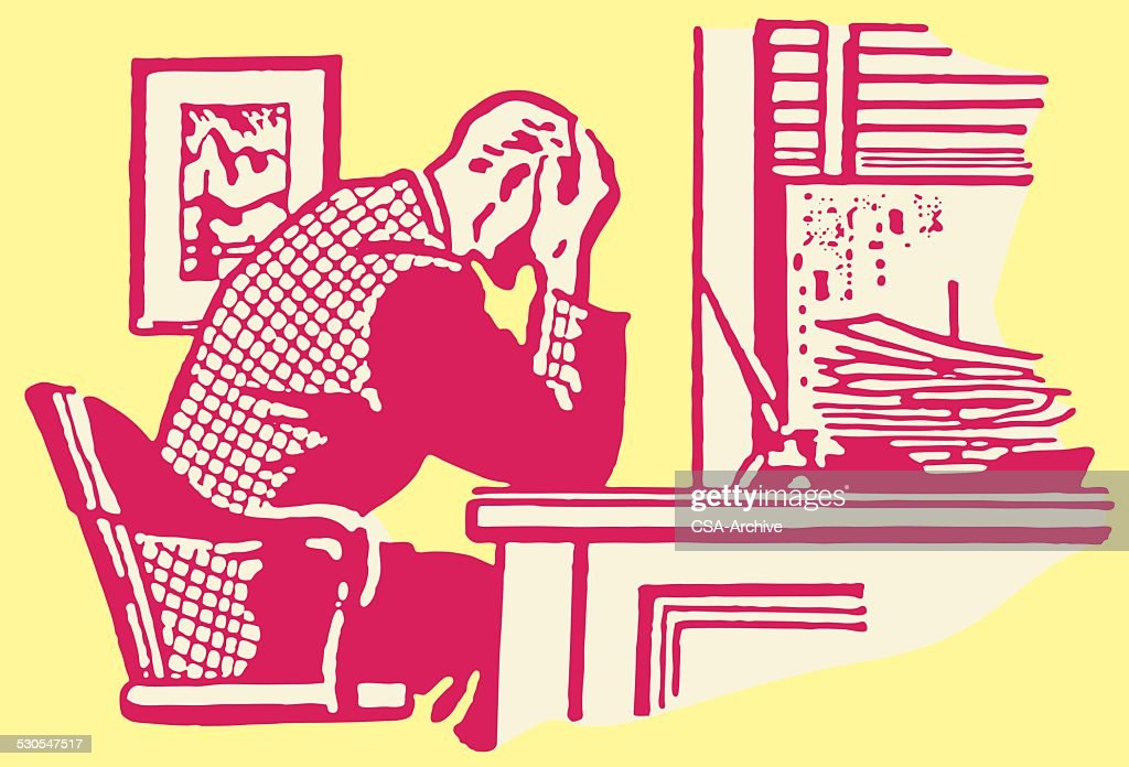 Man at Desk with Head in Hands : stock illustration