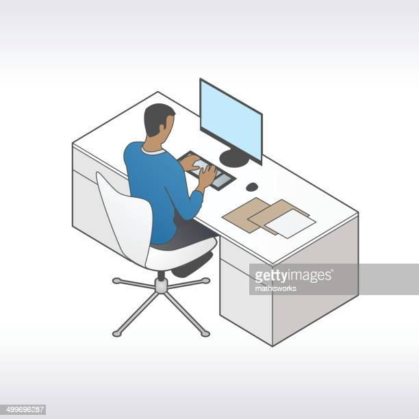 man at desktop illustration - mathisworks stock illustrations
