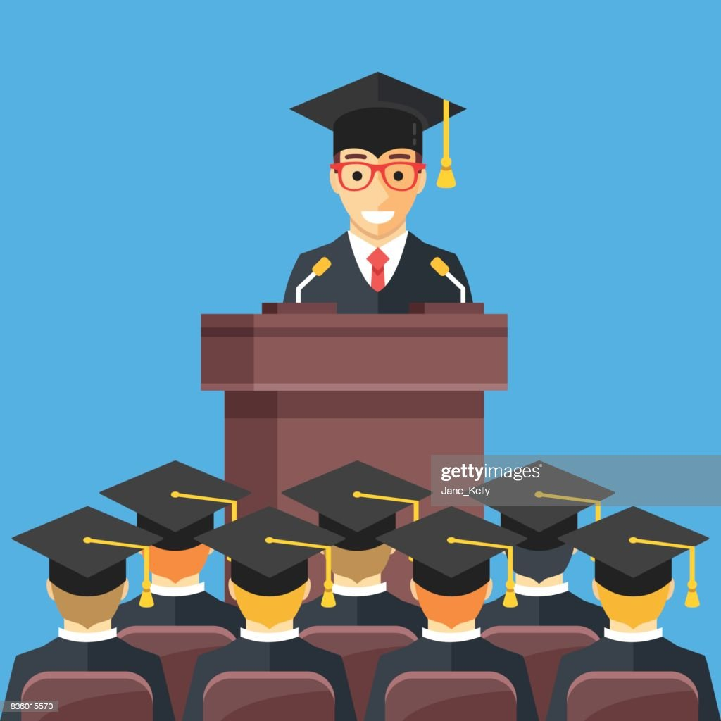 Man At Lectern Wearing Graduation Gown Mortarboard In Auditorium ...