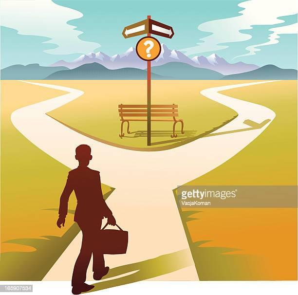 ilustrações, clipart, desenhos animados e ícones de homem no cruzamento com a jurisprudência que maneira de - encruzilhada