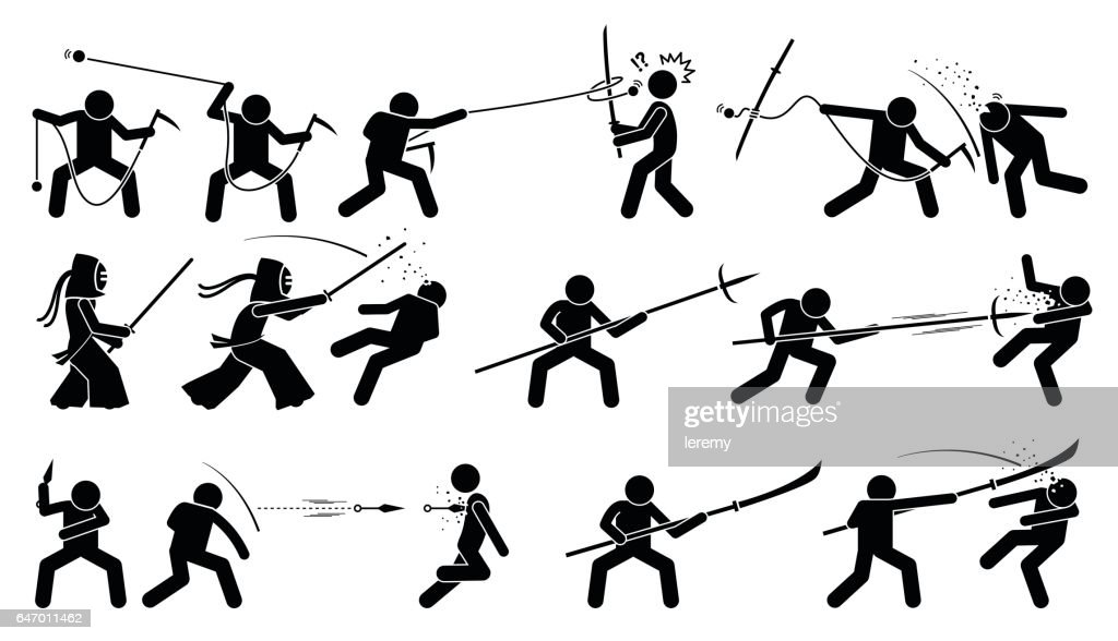 Man attacking opponent with traditional Japanese melee fighting weapons.