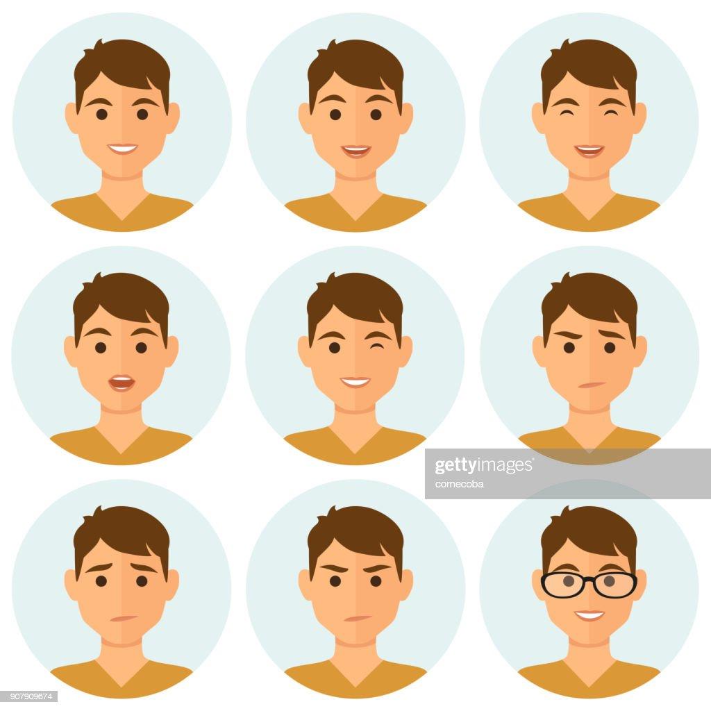 Man avatars facial expressions