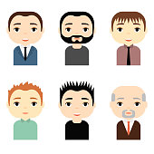 Man Avatars Set with Smiling faces. Male Cartoon Characters. Businessman. People Icons.