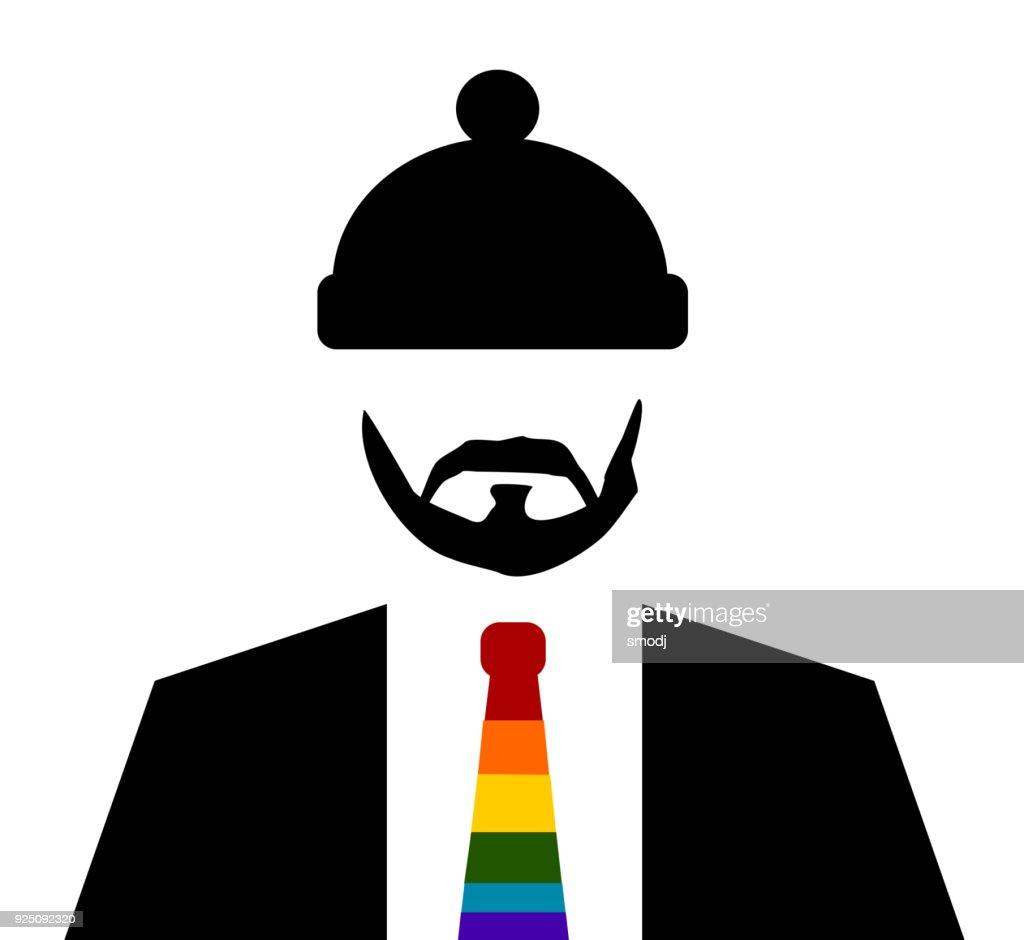 man beanie rainbow tie
