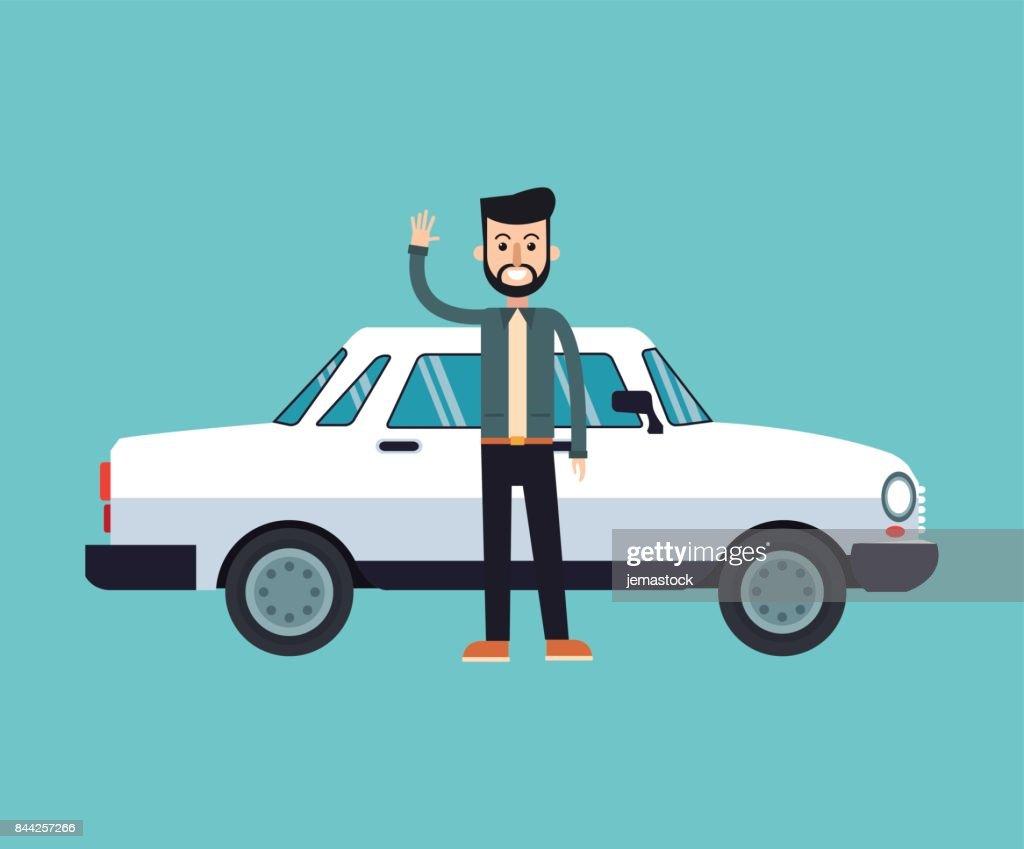 man beard hairstyle standing white car