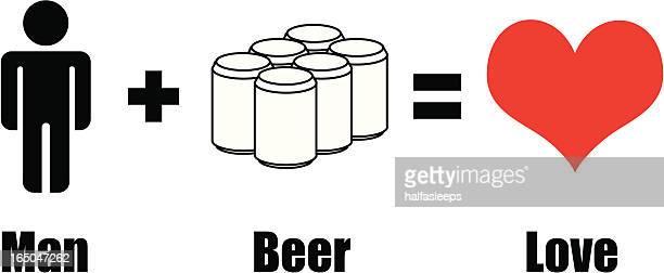 man ビール=愛 - 6缶パック点のイラスト素材/クリップアート素材/マンガ素材/アイコン素材