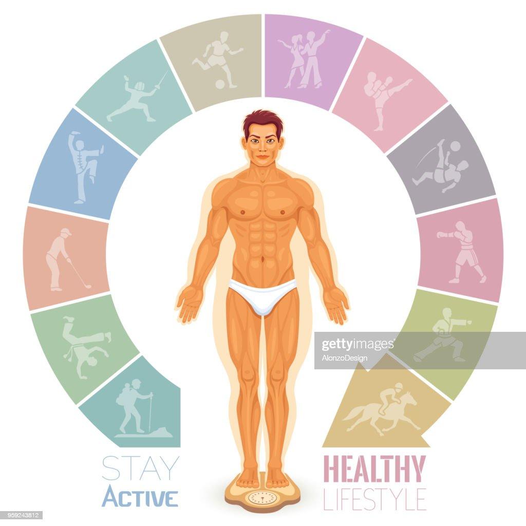 Man before and after fitness : Ilustração de stock