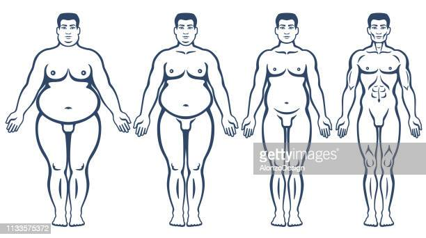man before and after weight loss - slim stock illustrations