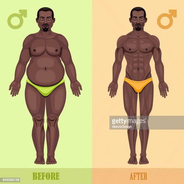 illustrations, cliparts, dessins animés et icônes de homme avant et après la perte de poids - devant