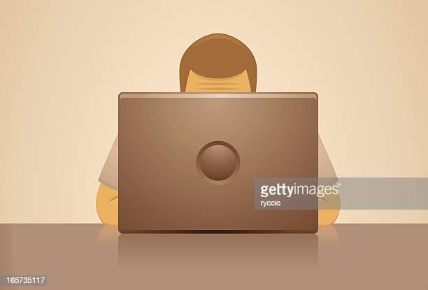man behind laptop - hidden stock illustrations, clip art, cartoons, & icons