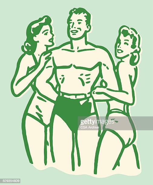 man being admired by two women at the beach - sex and reproduction stock illustrations, clip art, cartoons, & icons