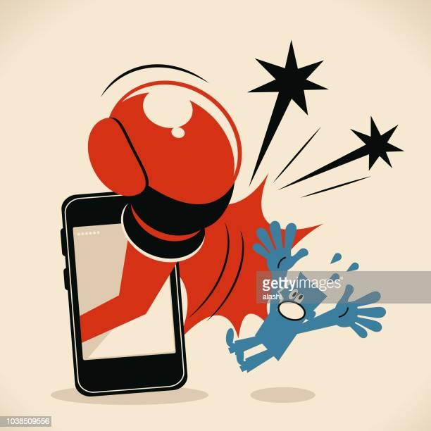 ilustrações de stock, clip art, desenhos animados e ícones de man being hit by a huge boxing glove from smart phone - cyberbullying