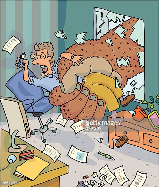 man being taken by king kong from office - office cubicle stock illustrations, clip art, cartoons, & icons